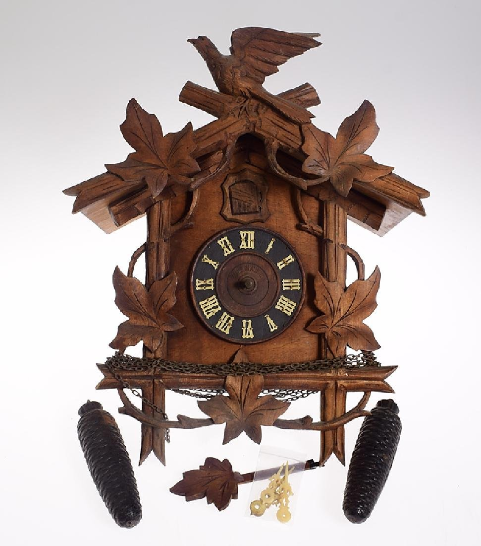 Antique Austrian Clock EARLY STANDARD HAND CARVED
