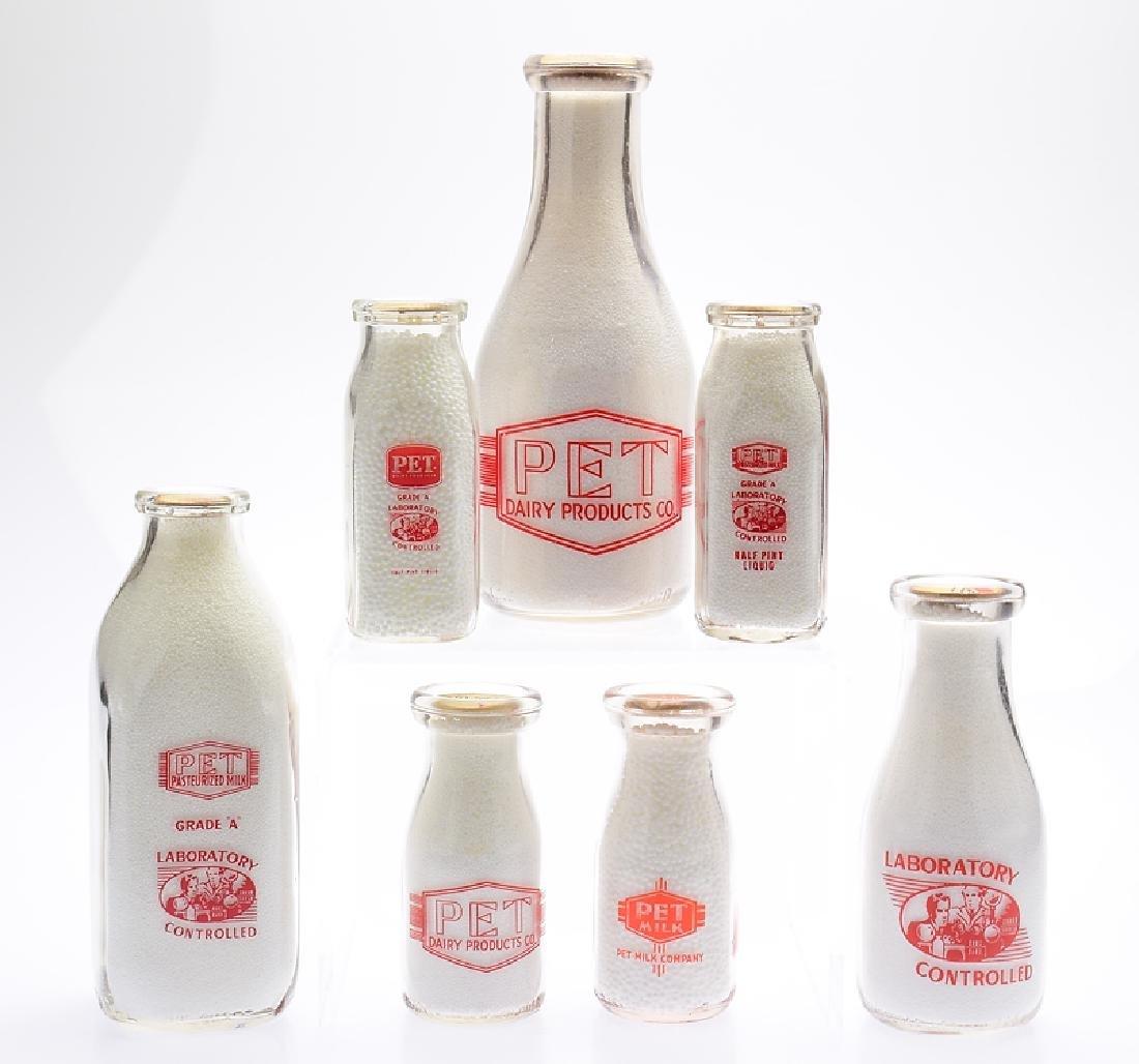 7Pcs Pet Inc VINTAGE GLASS MILK BOTTLES American Dairy