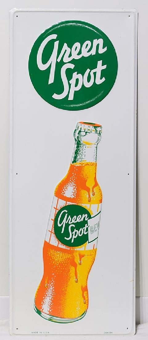 Orange Drink VINTAGE GREEN SPOT ADVERTISEMENT SIGN Soft