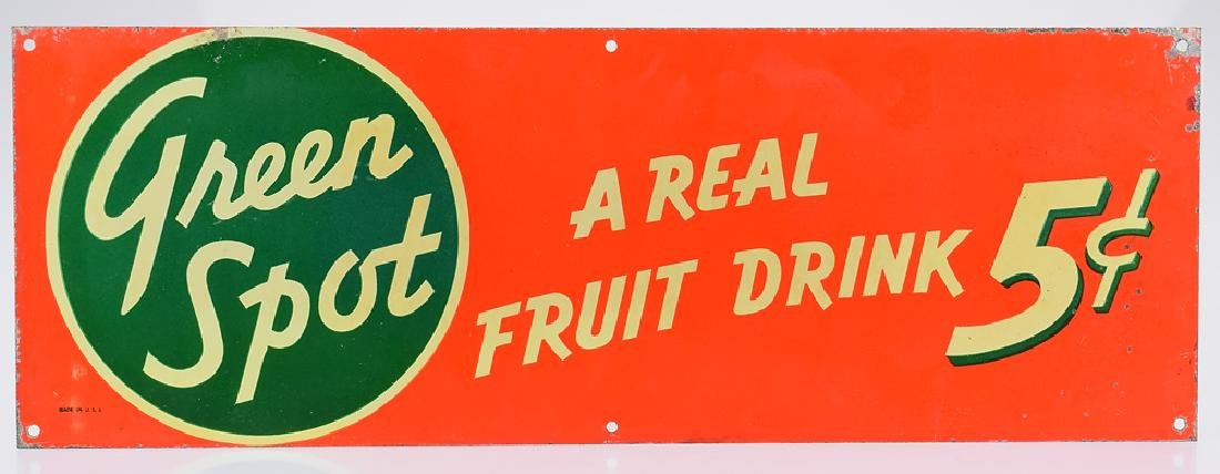 Soft Drink Advertisement DOUBLE-SIDED GREEN SPOT SIGN