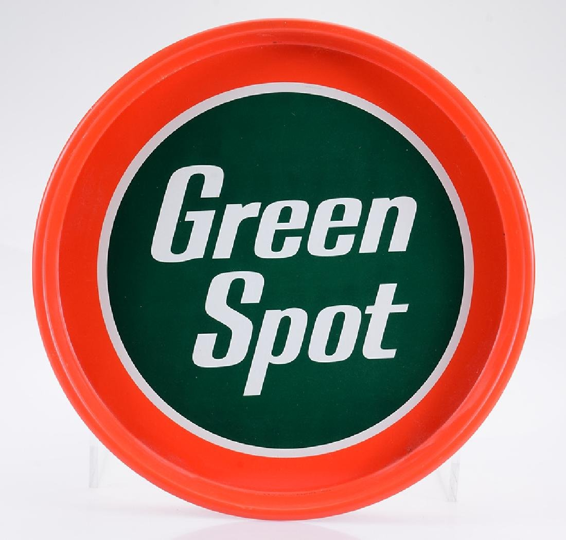 Double-Sided GREEN TOP ROUND METAL SIGN Vintage Orange