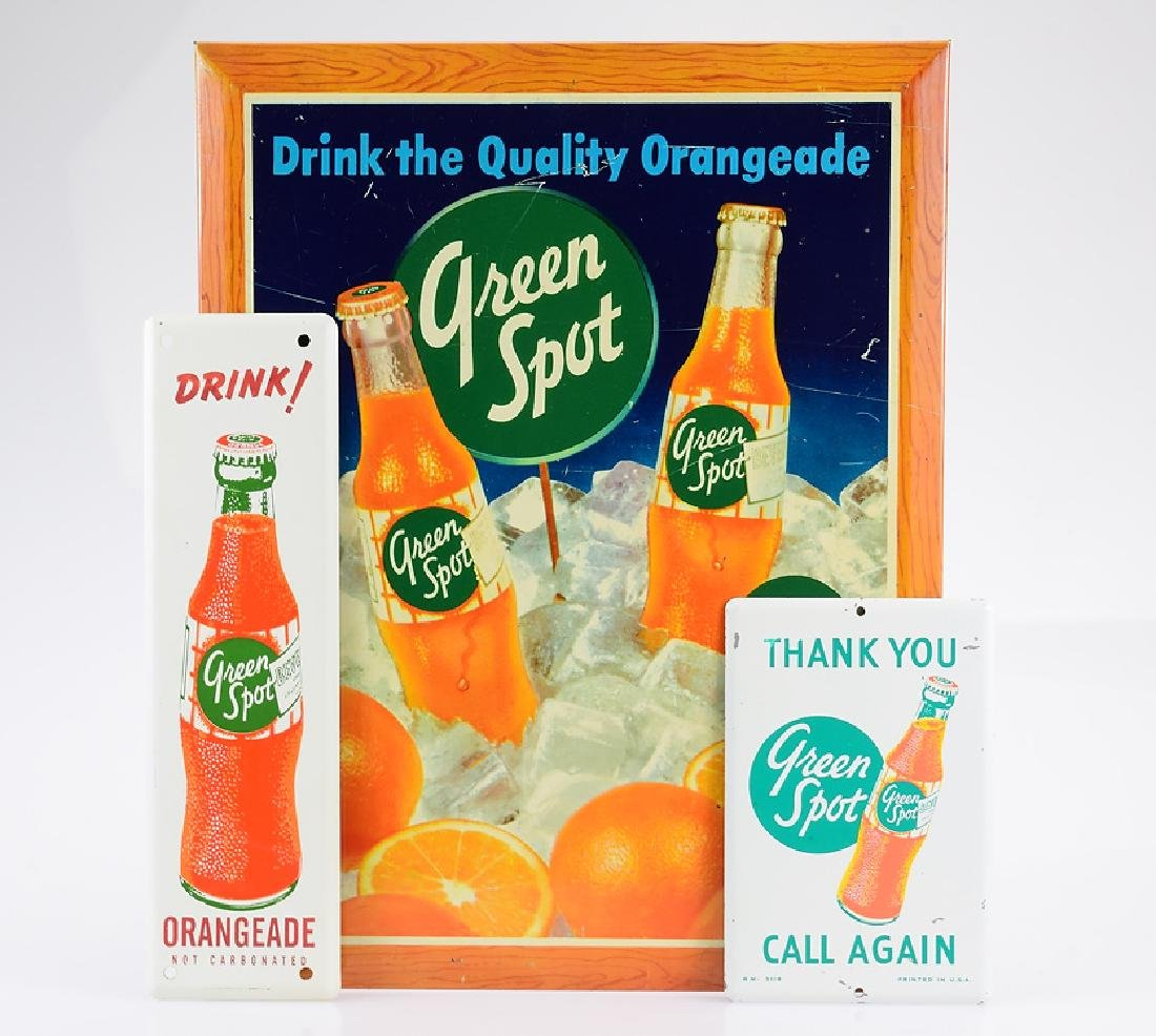 3Pcs Vintage Metal GREEN SPOT ORANGEADE SIGNS Tin