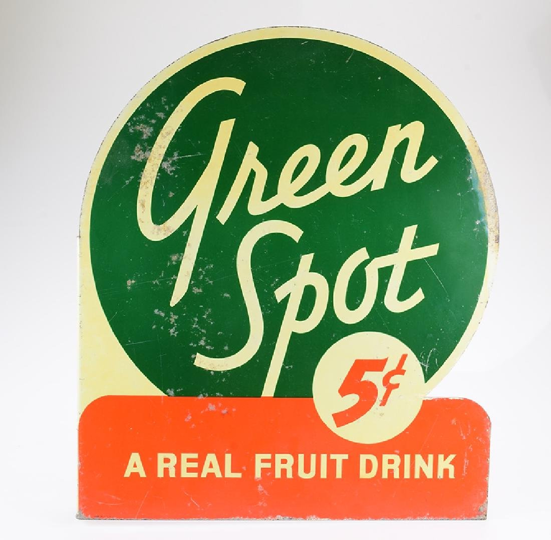 Flange Sign VINTAGE GREEN SPOT METAL ADVERTISING Fruit