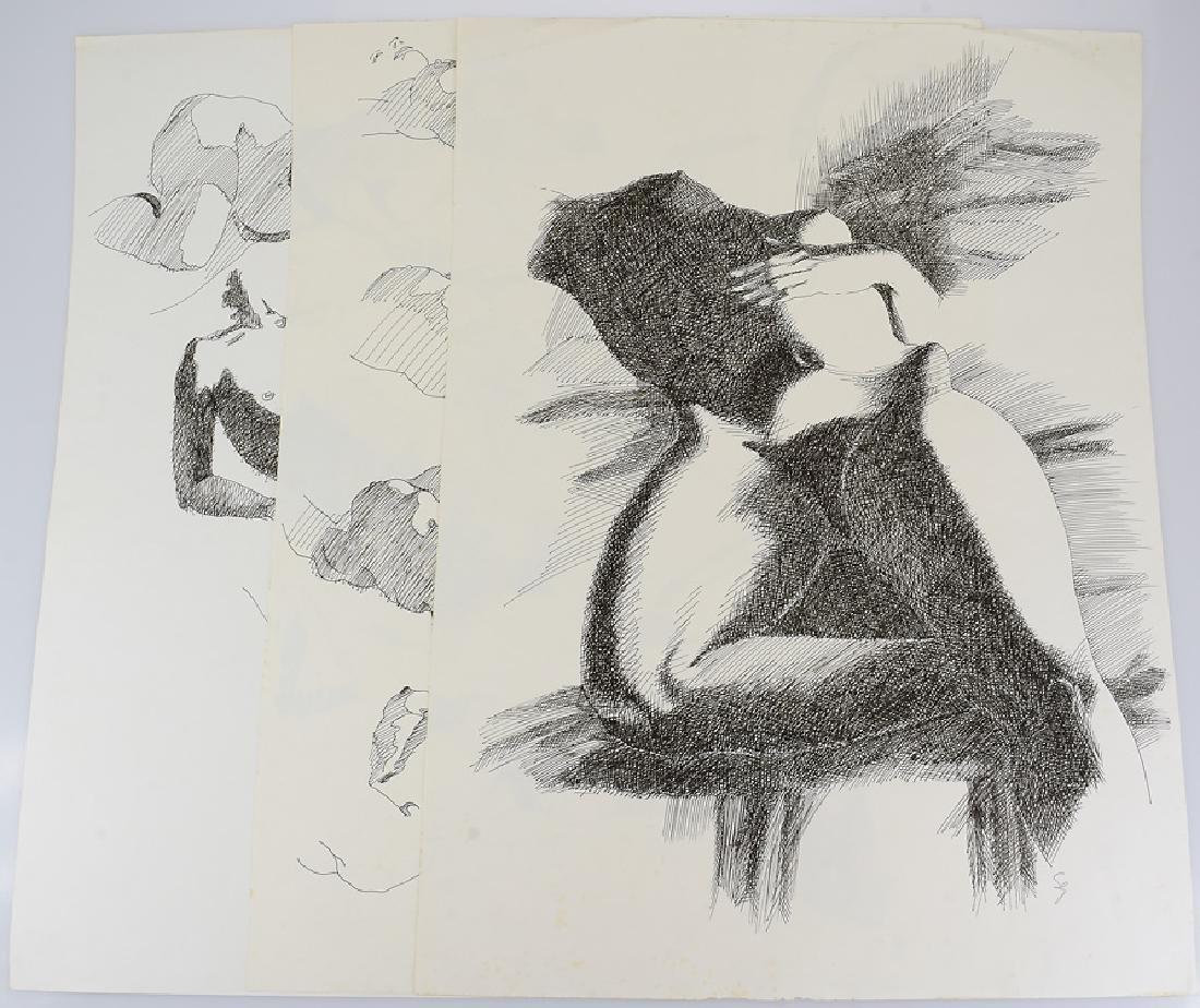 3pcs Artist Signed Studies ORIGINAL SALVATORE GRIPPI