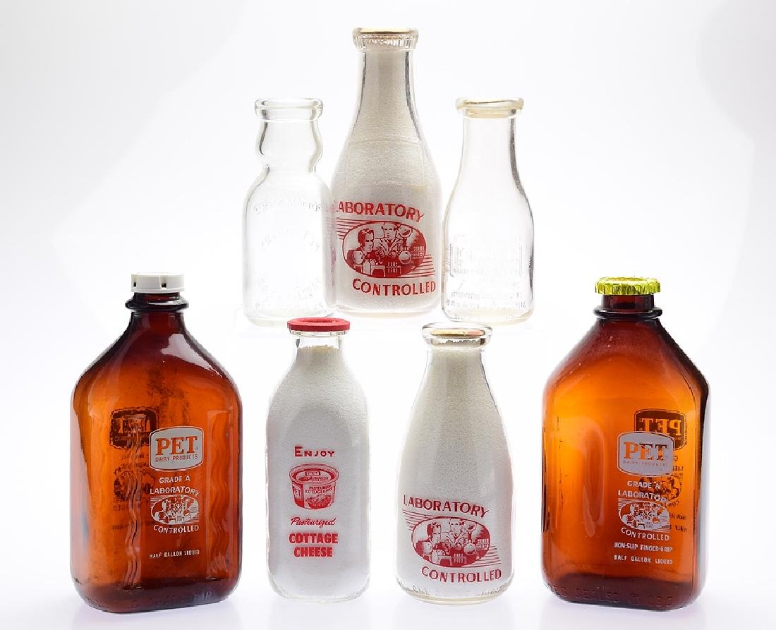 7Pcs Cream Top VINTAGE PET MILK COMPANY GLASS BOTTLES