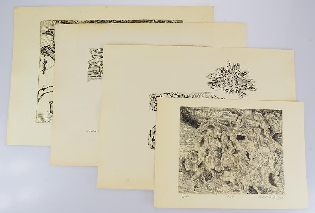 4Pcs Artist Signed EARLY WOODCUTS SALVATORE GRIPPI