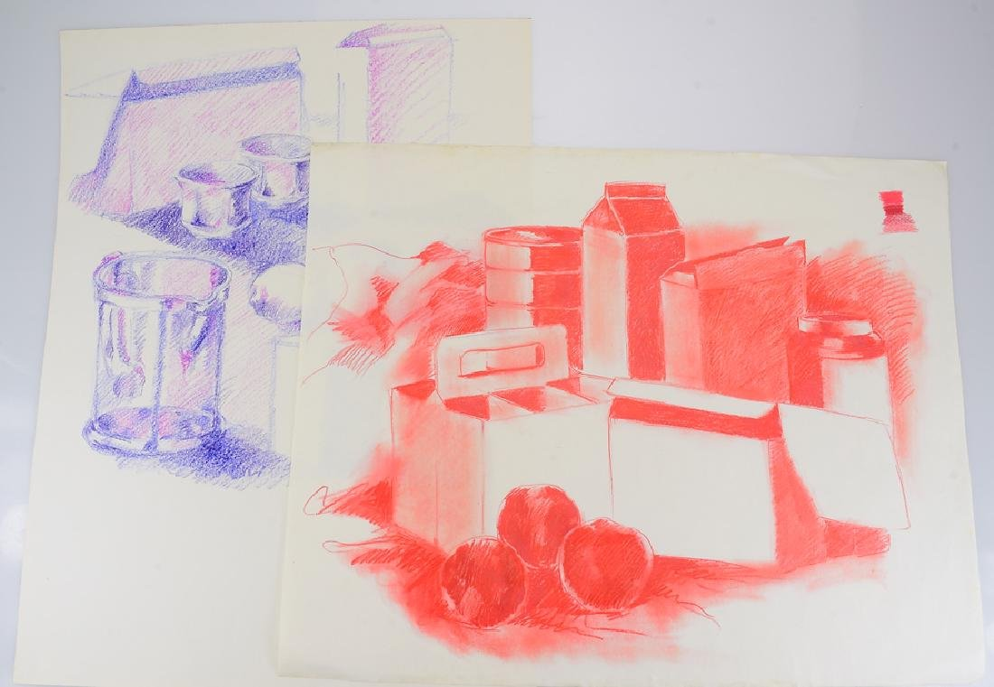 2Pcs Pastel Still-Life SALVATORE GRIPPI DRAWINGS