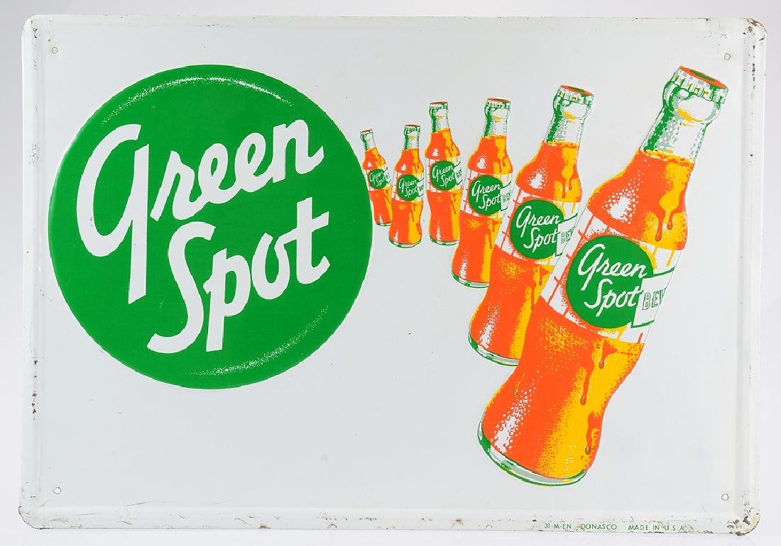 Vintage Sign GREEN SPOT DRINK ADVERTISEMENT Orange