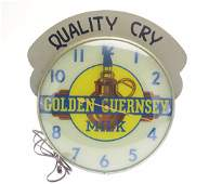 Pam Clock Co VINTAGE GOLDEN GUERNSEY ADVERTISING CLOCK