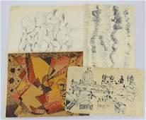 4Pcs Original Sketches EARLY VINTAGE SALVATORE GRIPPI