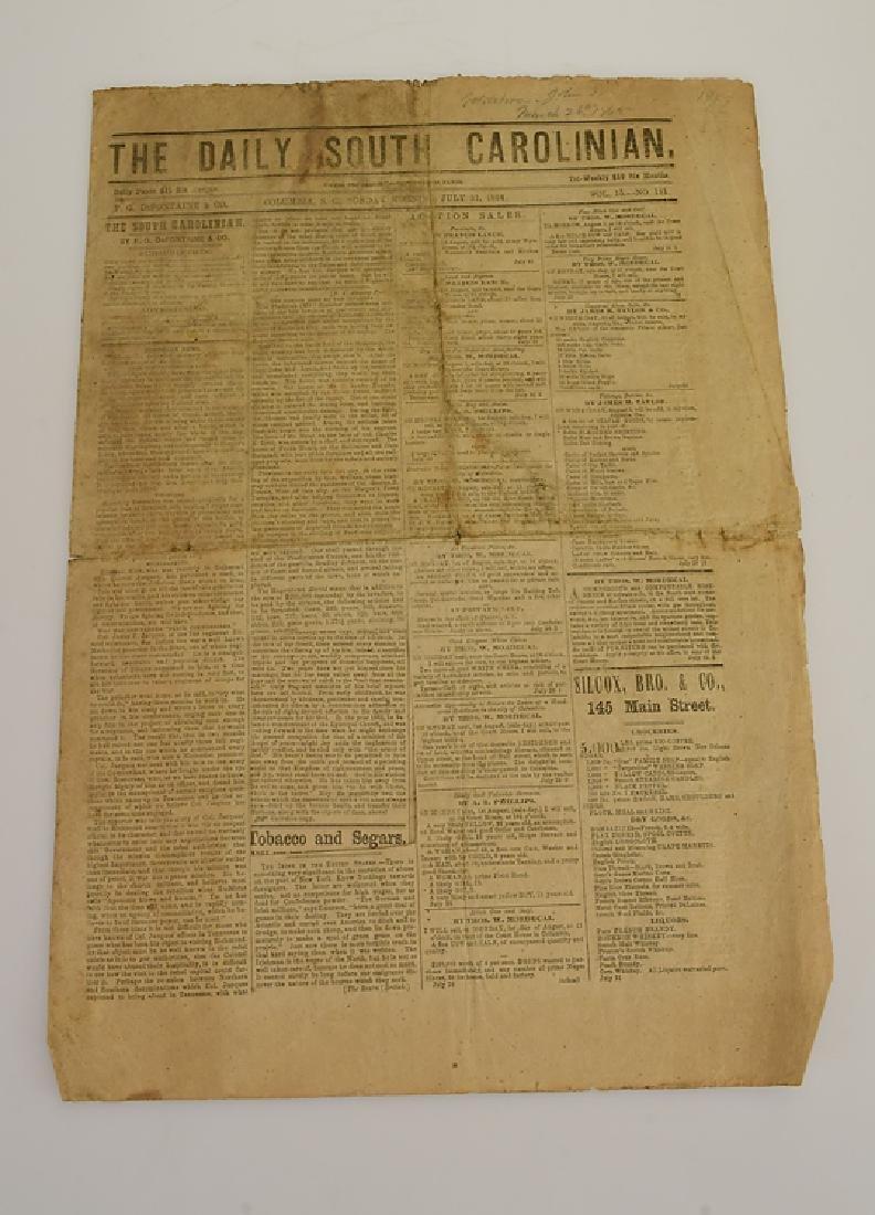 Civil War Era DAILY SOUTH CAROLINIAN ANTIQUE
