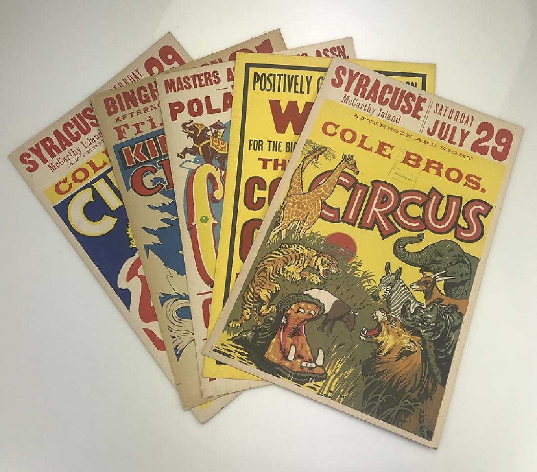 5pcs Vintage Circus Posters POLACK BROS KING BROS COLE