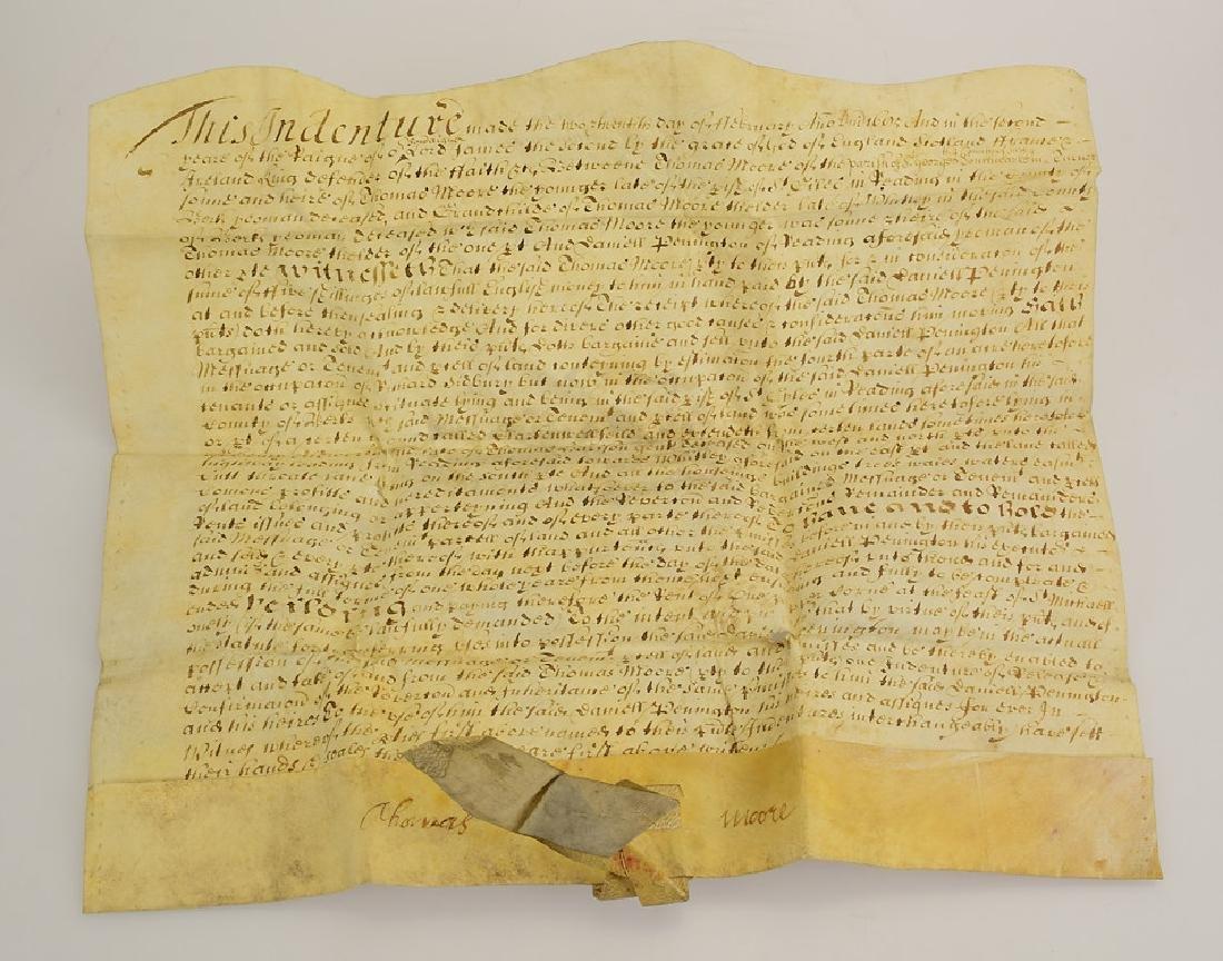 17th Century Contract ANTIQUE VELLUM LAND INDENTURE