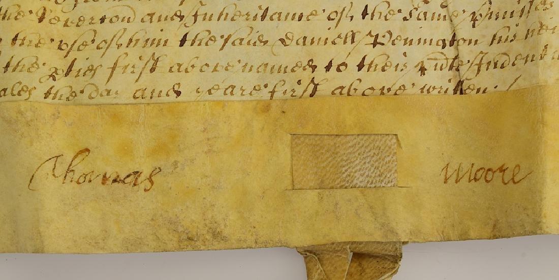 17th Century Contract ANTIQUE VELLUM LAND INDENTURE - 2