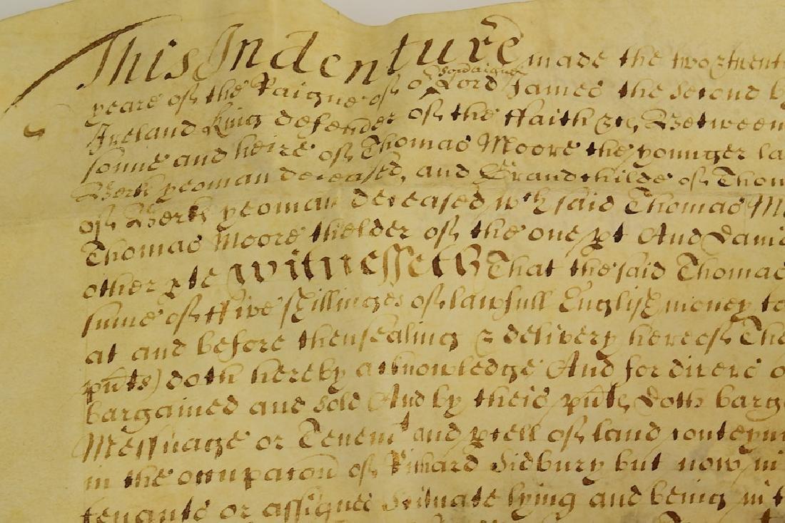 17th Century Contract ANTIQUE VELLUM LAND INDENTURE - 3