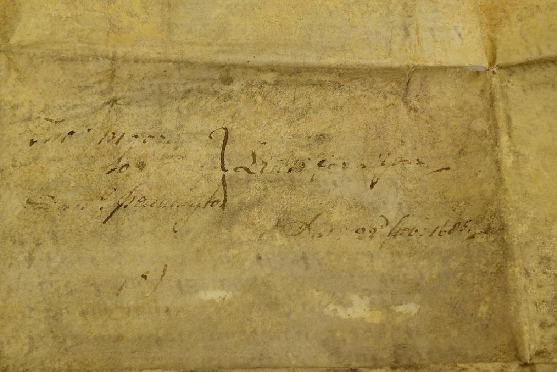 17th Century Contract ANTIQUE VELLUM LAND INDENTURE - 4