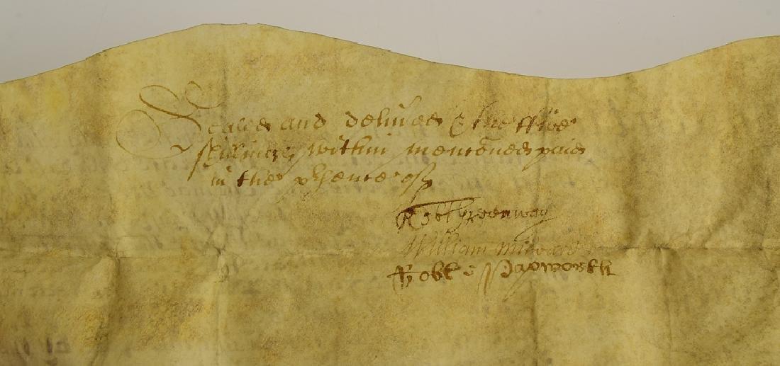 17th Century Contract ANTIQUE VELLUM LAND INDENTURE - 5