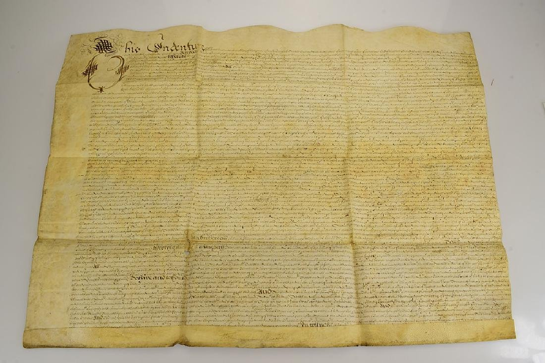 Vellum Large Format ANTIQUE 17TH CENTURY LAND INDENTURE