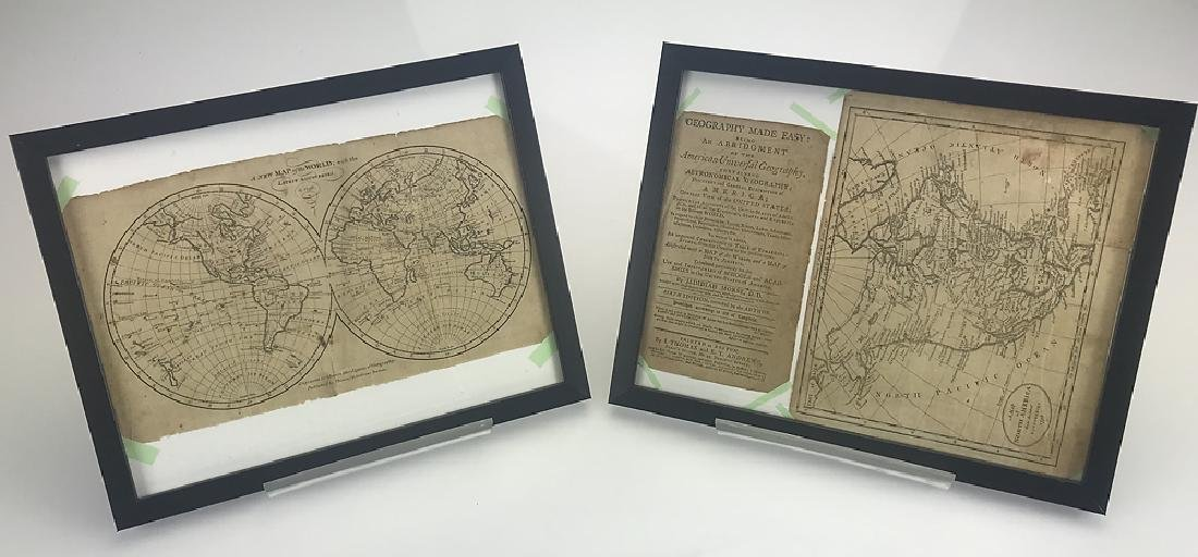 2pcs Decorative Antique Maps FRAMED GEOGRAPHY MADE EASY