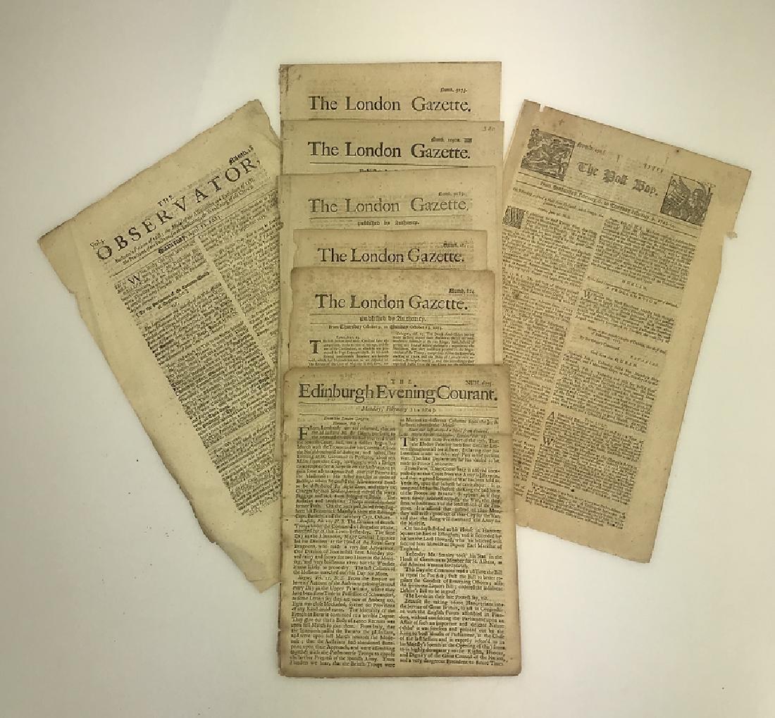 7pcs Antique European Newspaper LONDON GAZETTE