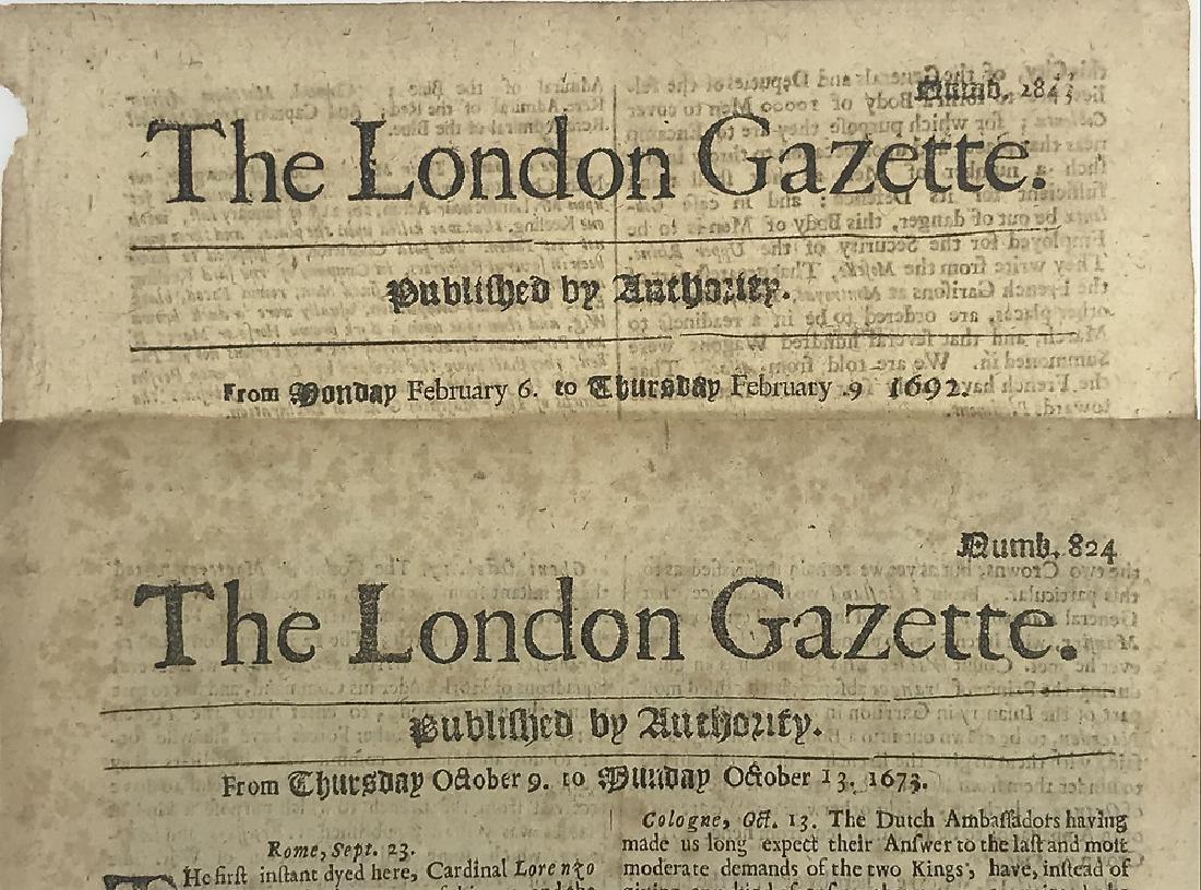 7pcs Antique European Newspaper LONDON GAZETTE - 4