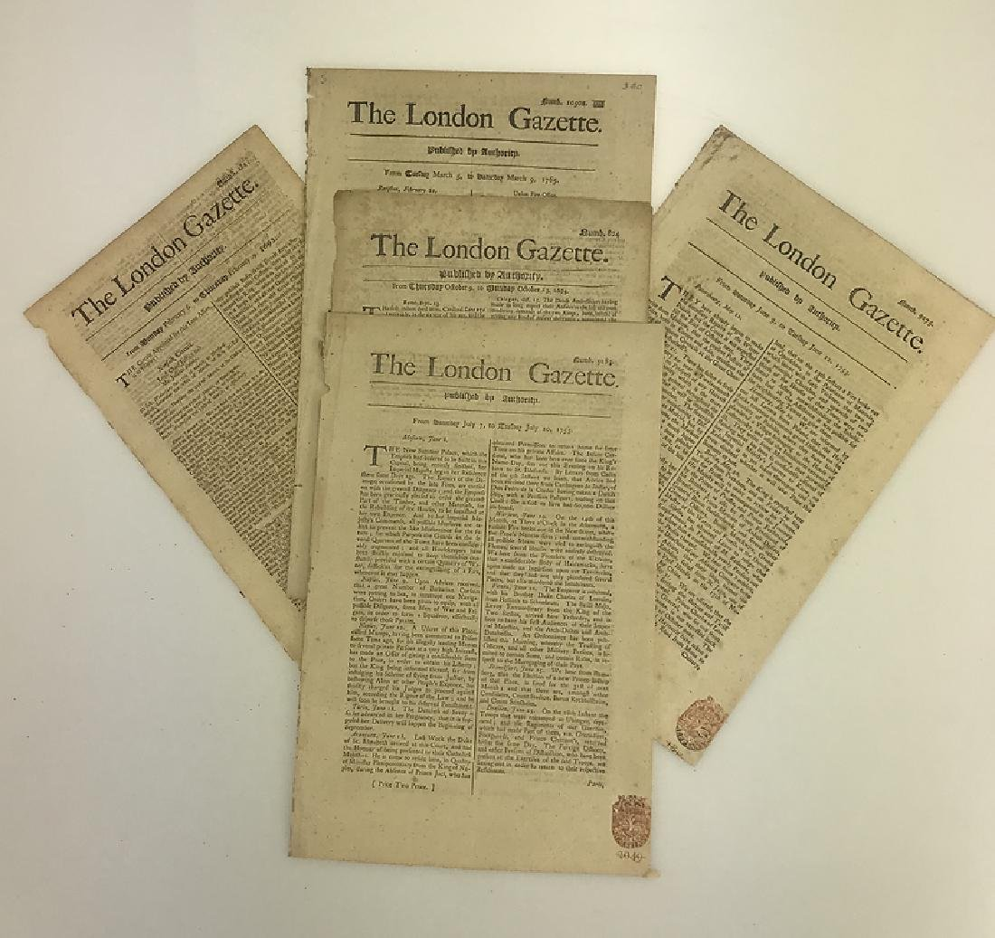 7pcs Antique European Newspaper LONDON GAZETTE - 5