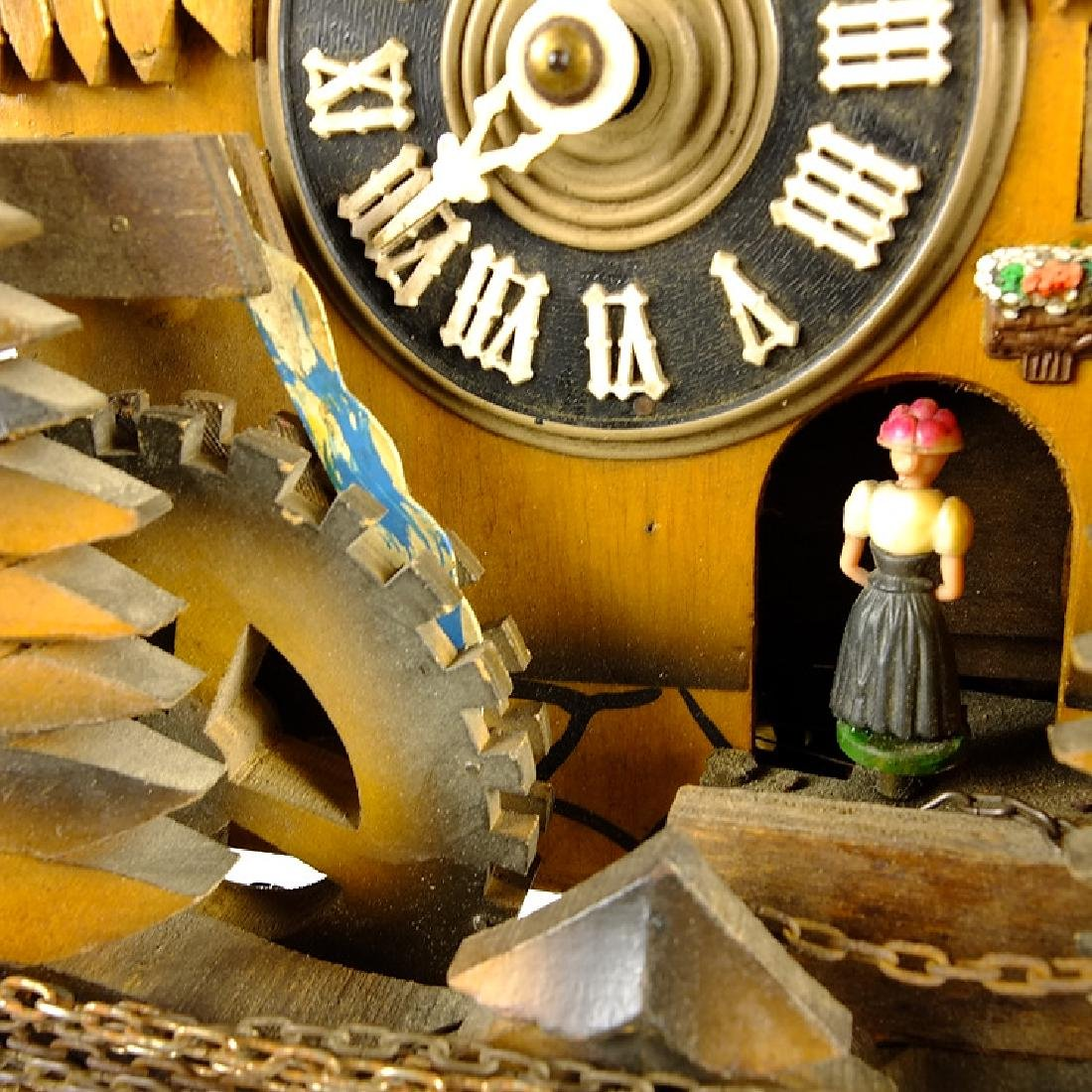 Black Forest Clock VINTAGE CUCKOO CLOCK MUSIC BOX WATER - 9