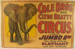 Collectible Circus Advertising ANTIQUE COLE BROS AND