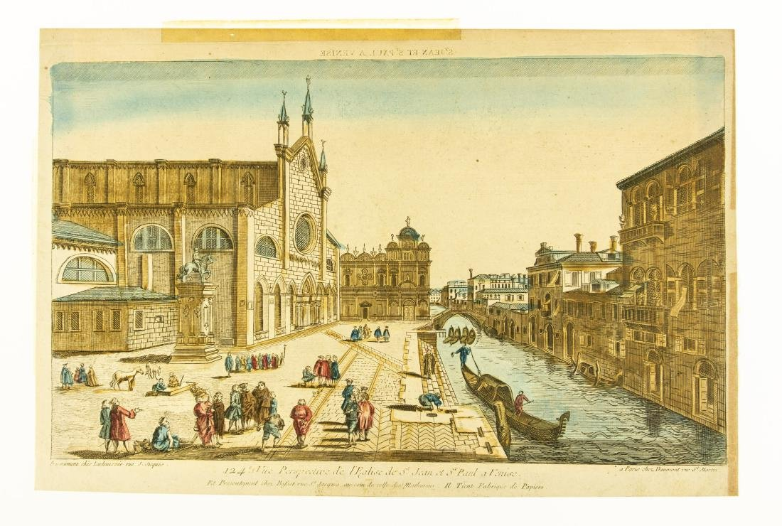 Basset Huquier HAND-COLORED ENGRAVING ST. JEAN ST. PAUL