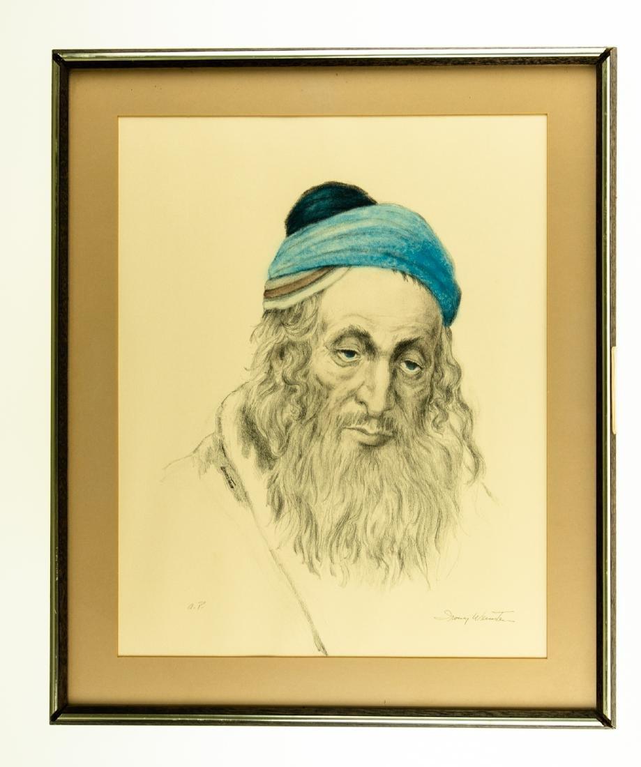 Irving Weinstein RABBI PORTRAIT c1960 Hand-Colored