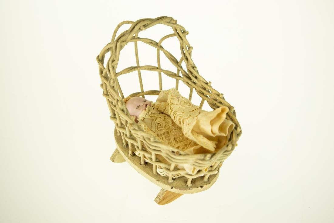 Infant Bottle ANTIQUE BISQUE DOLL AND WICKER CRADLE