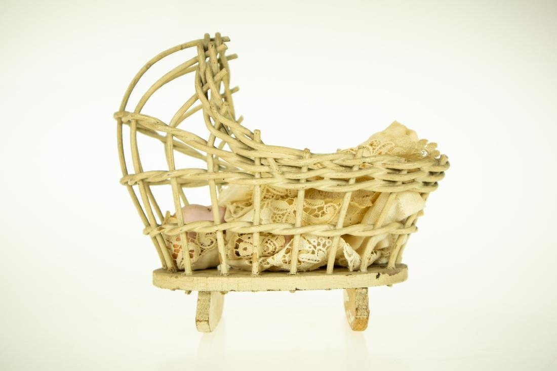 Infant Bottle ANTIQUE BISQUE DOLL AND WICKER CRADLE - 2