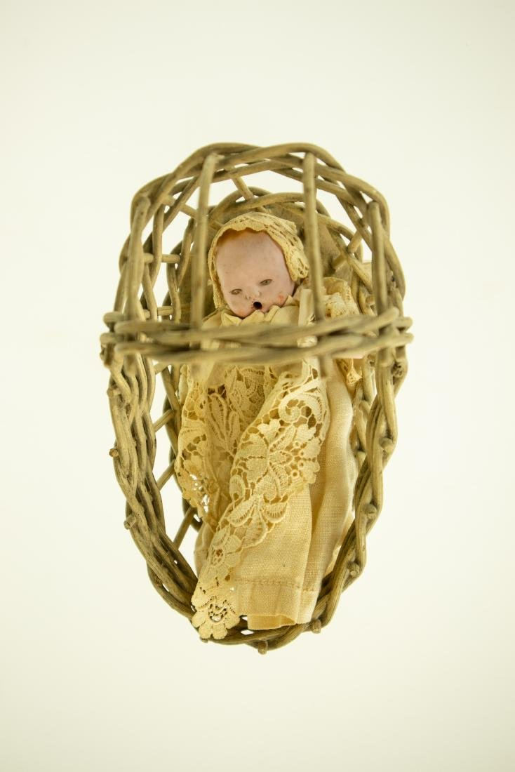 Infant Bottle ANTIQUE BISQUE DOLL AND WICKER CRADLE - 4