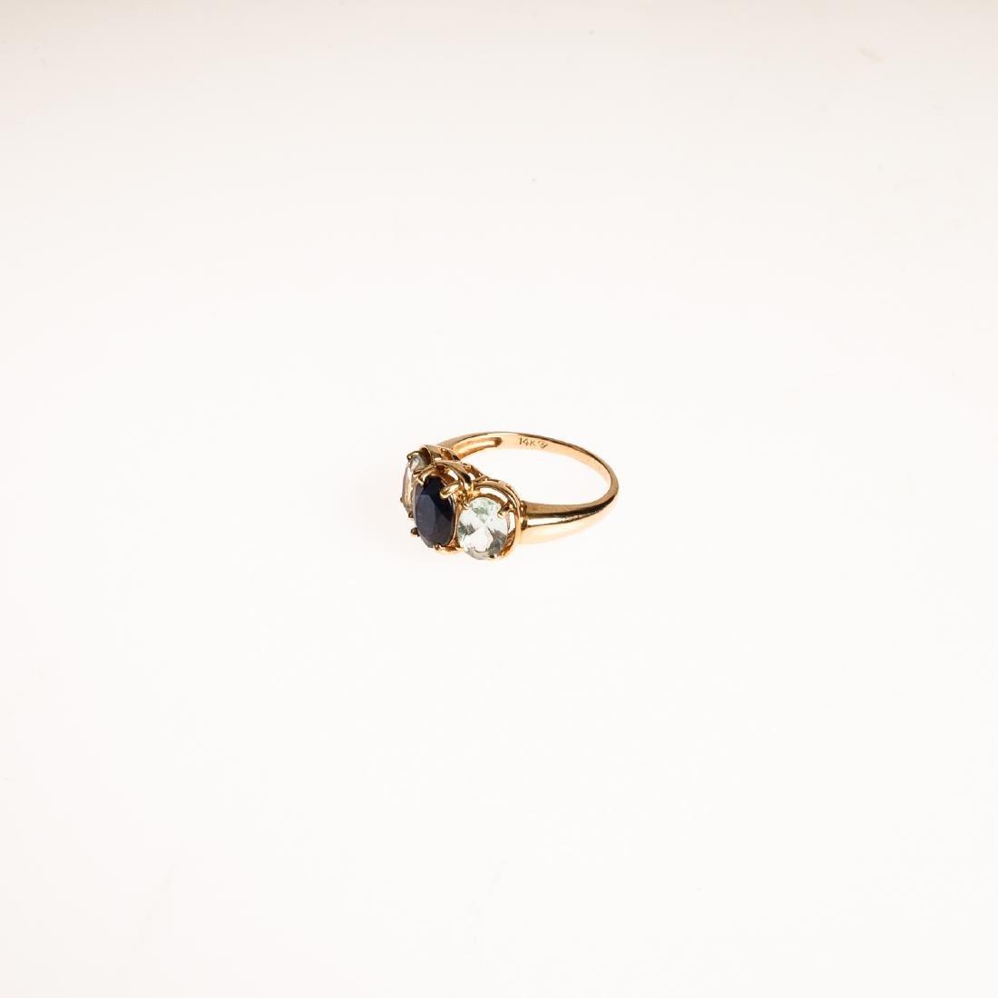 2pcs Sapphire 14 KARAT GOLD FINE ESTATE JEWELRY - 4