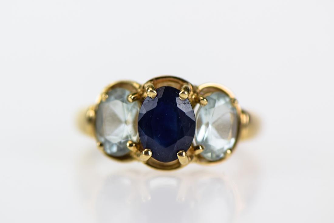2pcs Sapphire 14 KARAT GOLD FINE ESTATE JEWELRY - 7