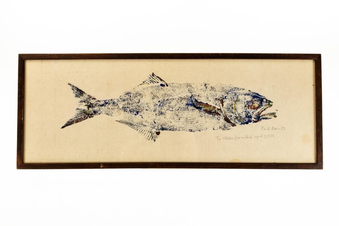Karl Mann RELIEF MONOPRINT OF FISH 1958 Artist Signed