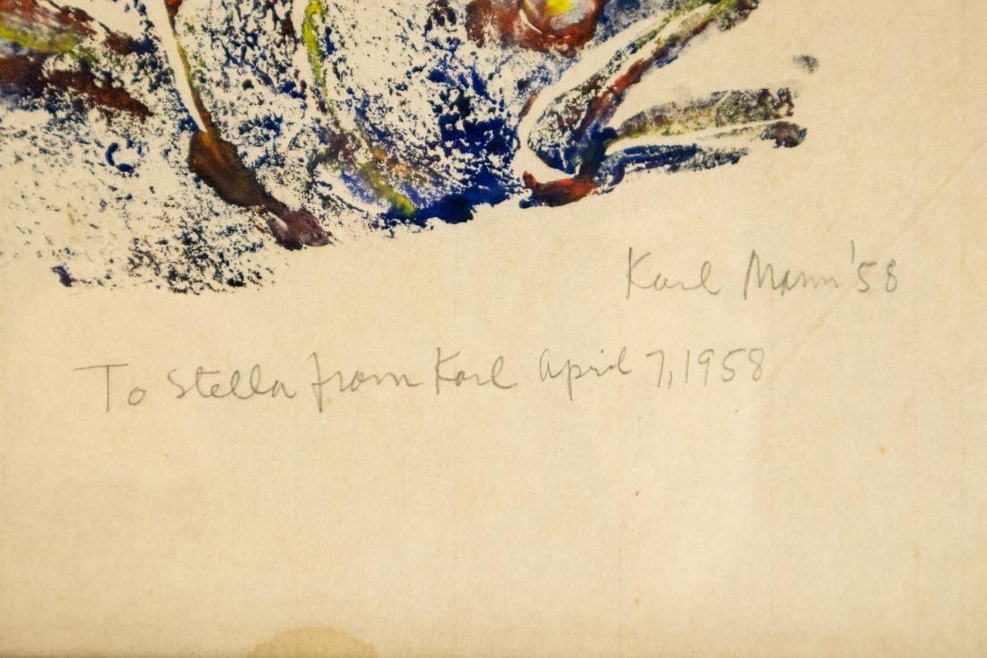 Karl Mann RELIEF MONOPRINT OF FISH 1958 Artist Signed - 2