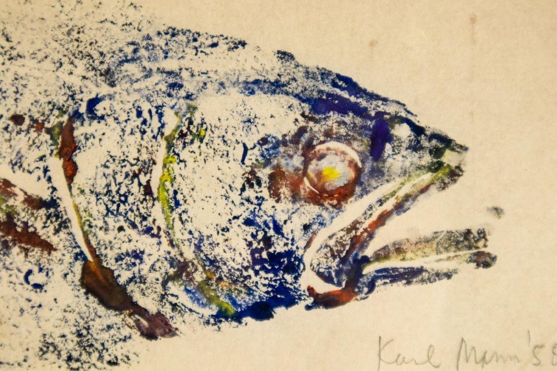 Karl Mann RELIEF MONOPRINT OF FISH 1958 Artist Signed - 3