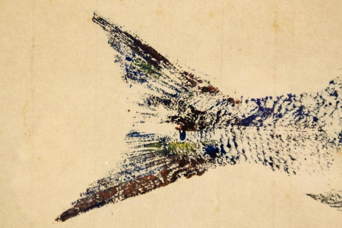 Karl Mann RELIEF MONOPRINT OF FISH 1958 Artist Signed - 5