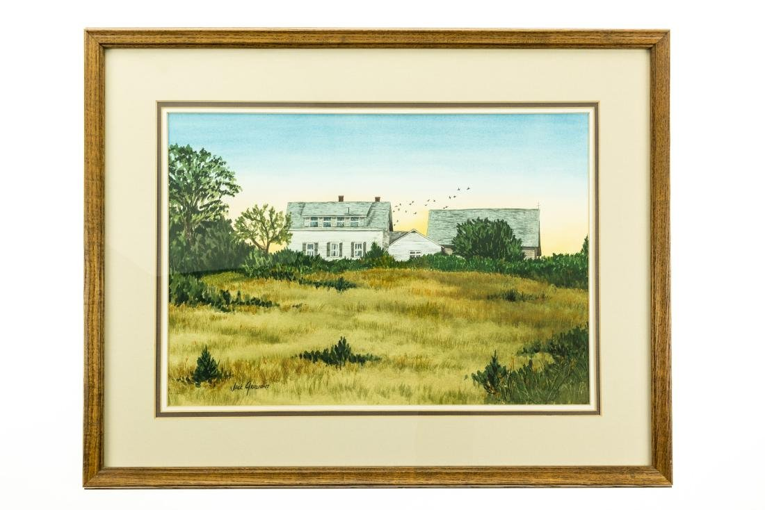 Jack Graziano GRASSY MEADOW & HOUSE ORIGINAL WATERCOLOR
