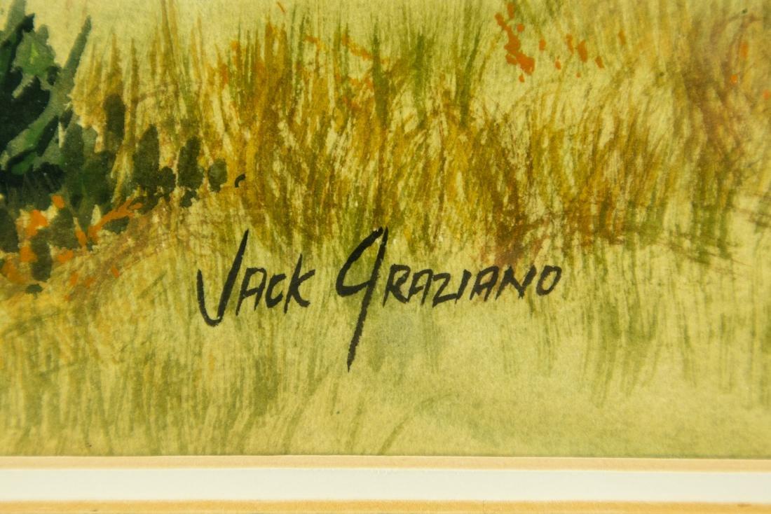 Jack Graziano GRASSY MEADOW & HOUSE ORIGINAL WATERCOLOR - 2