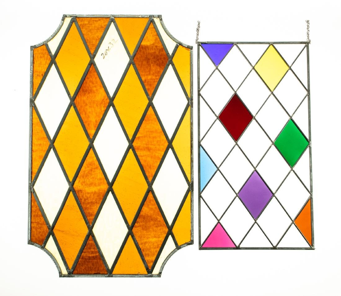 2Pcs Window Hangings HANDMADE LEADED STAINED-GLASS
