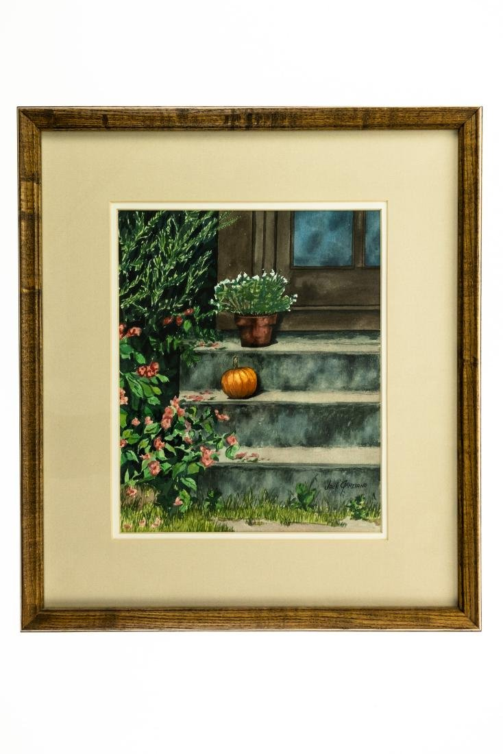 Jack Graziano PUMPKIN ON PORCH ORIGINAL WATERCOLOR