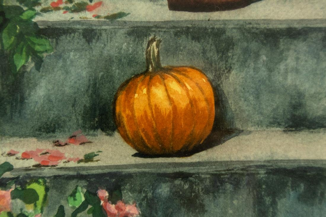 Jack Graziano PUMPKIN ON PORCH ORIGINAL WATERCOLOR - 3