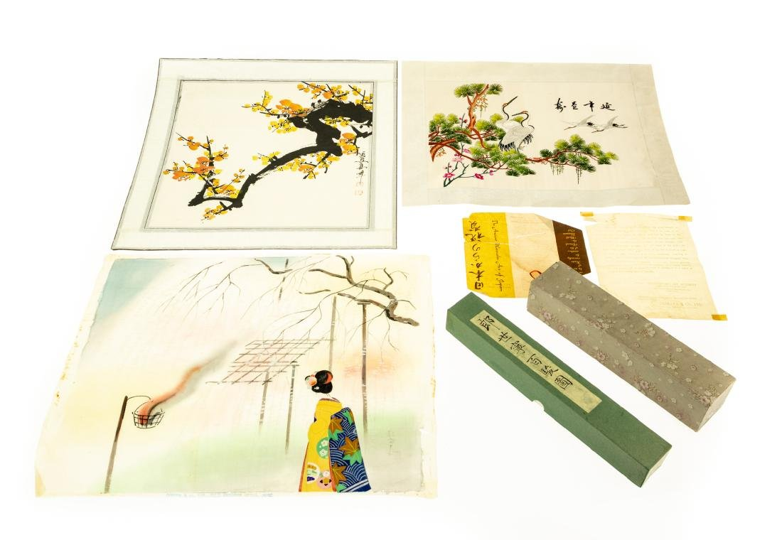 5Pcs Vintage and Antique ASIAN ARTWORK Japanese Chinese