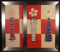 2Pcs New Stock BASSETT FRAMED FLOWER PRINTS Spring