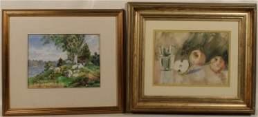 2Pcs Antique Gilt Framed WATERCOLOR PAINTINGS August C.