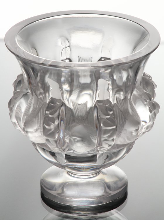 French Art Glass ORNATE LALIQUE VASE WITH BIRD MOTIF