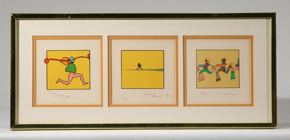 3Pcs Early Psychedelic Serigraphs PETER MAX C1973
