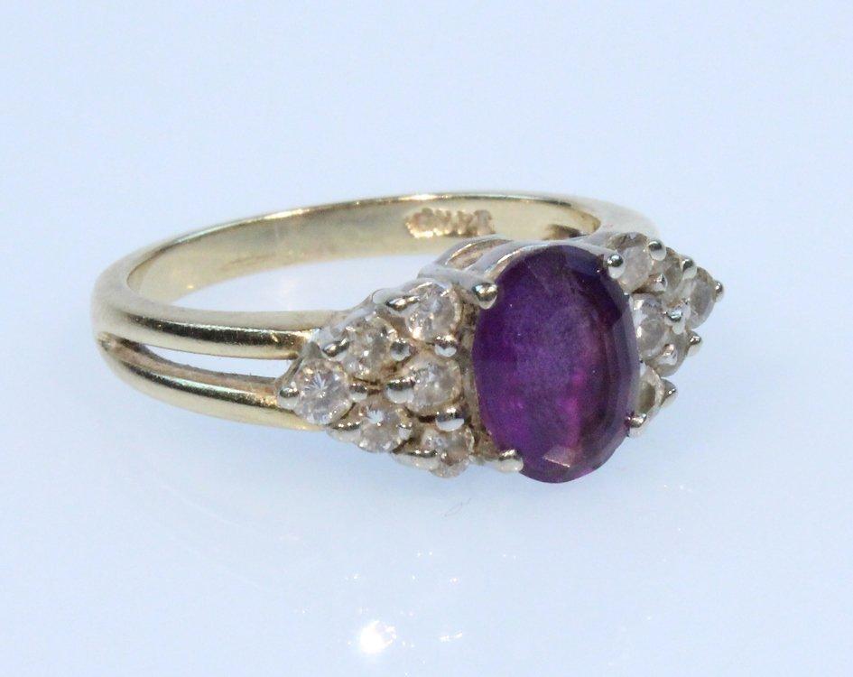 Precious Gemstones 14K AMETHYST & DIAMOND RING Vintage